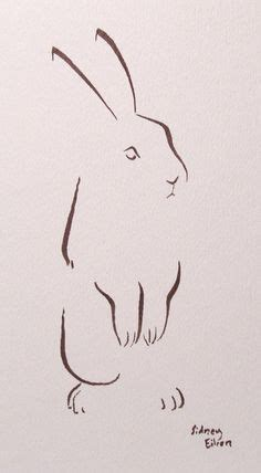 rabbit tattoo pen animals with a single line pink
