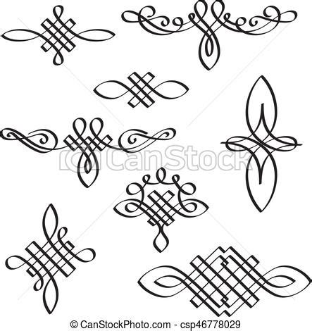 calligraphic text design elements vector vector calligraphic design elements hand drawn modern