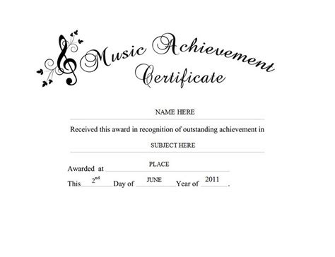 templates for music certificates music achievement certificate free word templates clipart