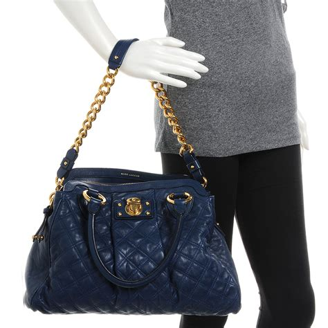 Marc Quilted Alyona Handbag by Marc Quilted Leather Alyona Bag Navy 55266