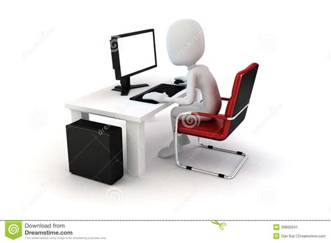 ou center travel desk 3d working on computer stock illustration image