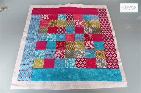 Patchwork Wadding - quilted patchwork panel cushion tutorial overdale fabrics