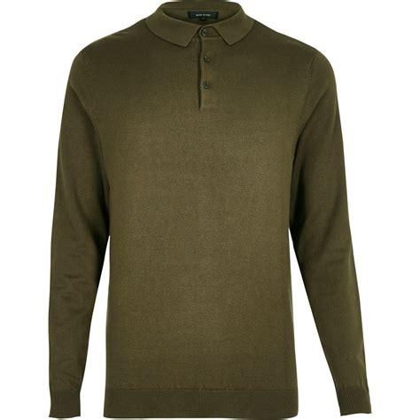 Dr Derick Khaki river island khaki sleeve polo shirt in green for lyst