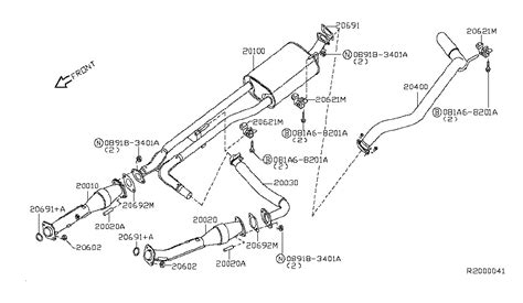 nissan titan parts diagram exhaust muffler for 2008 nissan titan nissan