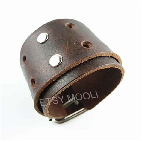Handmade Mens Leather Cuff Bracelets - brown leather bracelet handmade cuff jewelry fashion