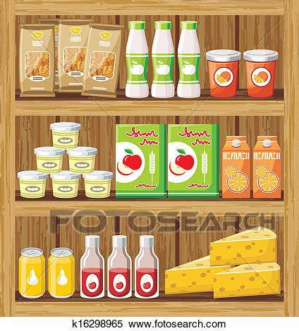 clipart of supermarket shelfs with food k16298965