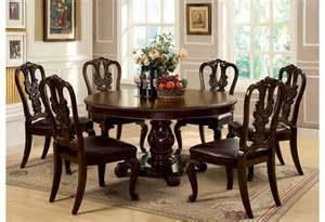 Dining Room Sets With Round Tables by Cm3319rt Round Table Dining Set Brown Cherry Finish The