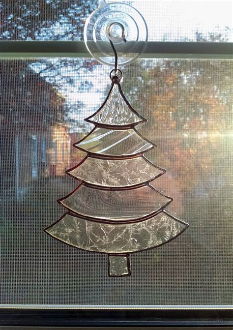 stained glass christmas tree suncatcher clear glass