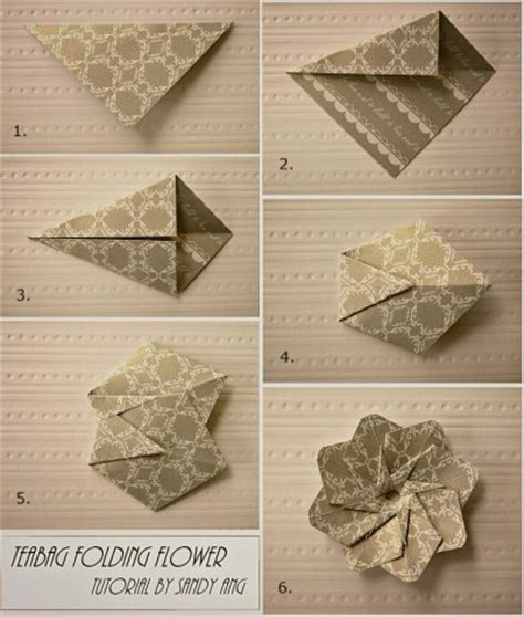 Paper Folding Flowers - how to fold paper teabag flower step by step diy