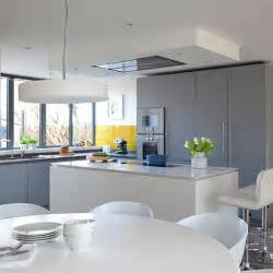 grey kitchen with white island and yellow splashback