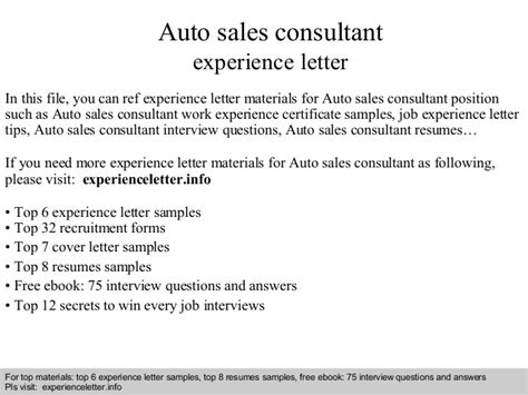 Air Conditioning Sales Cover Letter by Auto Sales Consultant Experience Letter