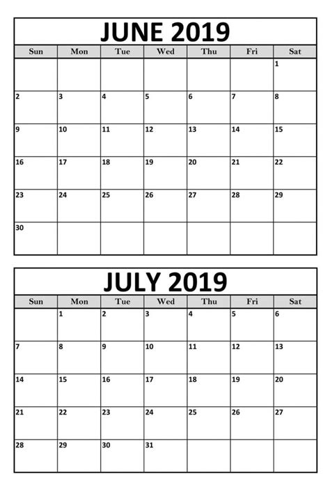 Blank June July 2019 Calendar Printable Template | Magic