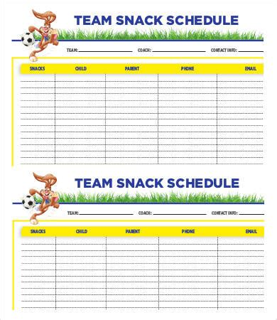 snack schedule template team schedule template 9 free word excel pdf format