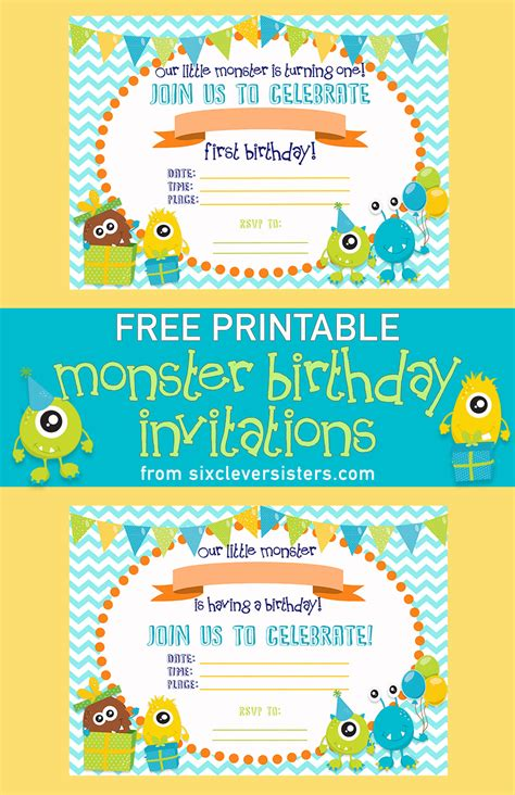free printable monster birthday decorations free printable monster birthday invitations six clever