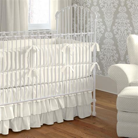 Tiered Crib Skirt by Solid Ivory Crib Skirt Three Tier Carousel Designs