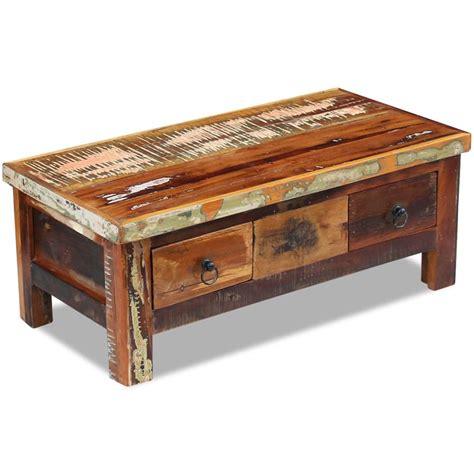 mesas de centro con cajones vidaxl mesa de centro con cajones madera maciza reciclada