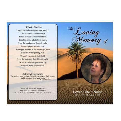 desert single fold memorial program funeral pamphlets