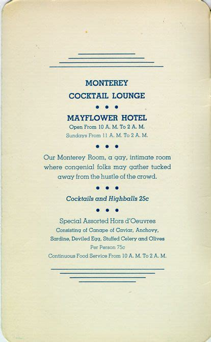menu design los angeles monterey cocktail room mayflower hotel 535 s grand ave