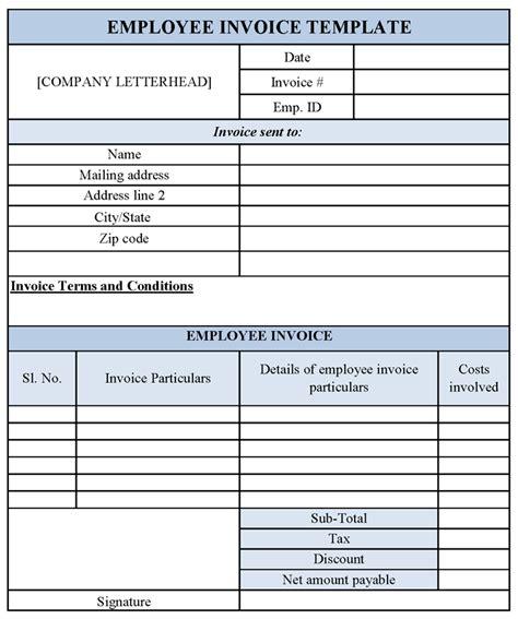 employee invoice template sle templates