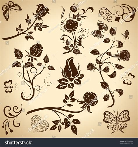 shutterstock design elements and layout vector pack rose vintage vector design elements 82788646 shutterstock