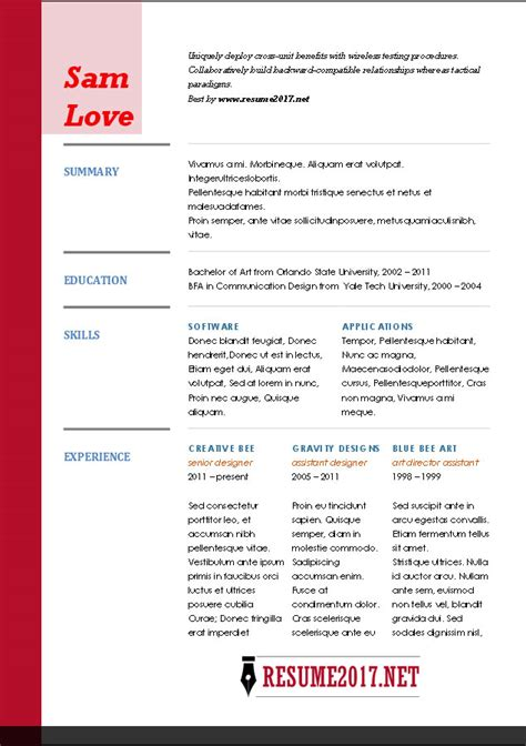 Resume Exles 2017 Resume Format 2017 16 Free To Word Templates