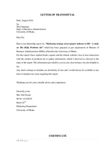 Transmittal Letter Research Paper Sle Letter Of Transmittal For Research Paper