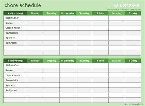 chore template house cleaning schedule template xlsx excel 2007 excel for