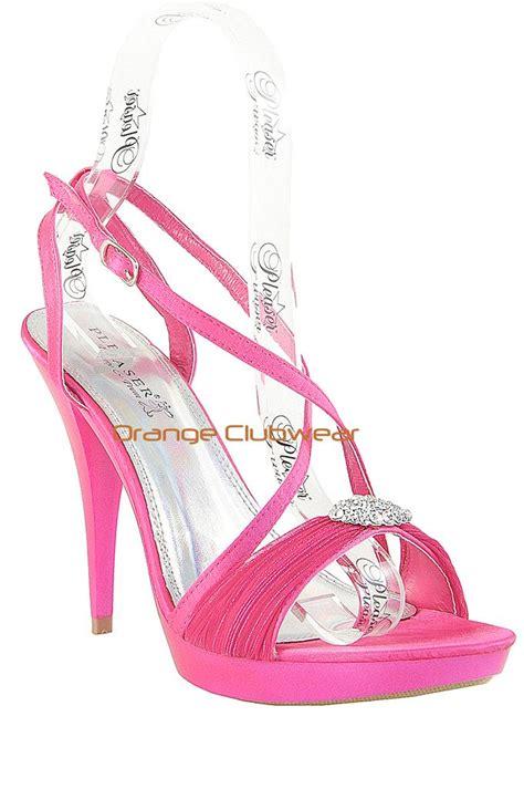 pleaser criss cross fuschia pink satin dress stiletto