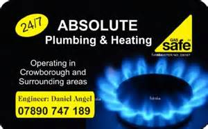 plumbing and heating business cards absolute plumbing heating crowborough central
