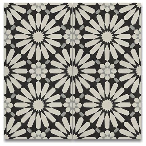 Handmade Cement Tiles - alhambra handmade cement tile black and white set of 12