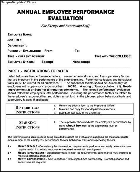 annual employee evaluation template annual employee evaluation form pdf template sle