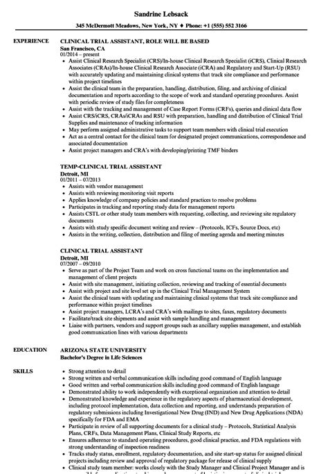 Clinical Assistant Resume by Clinical Trial Assistant Resume Sles Velvet
