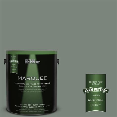 behr marquee 1 gal n410 5 green semi gloss enamel exterior paint 545301 the home depot