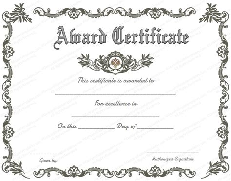 templates for award certificates in word free printable certificate of recognition google search