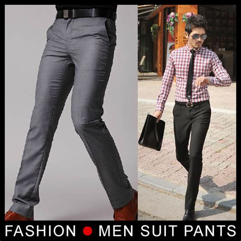 Korean Style P1046 Grey 31 33 new s suit flat business casual trousers slim