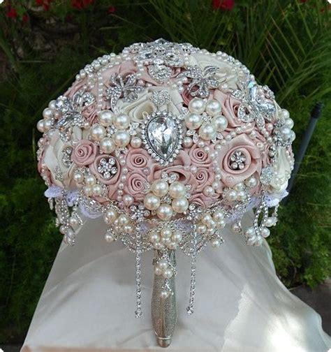 Buket Bunga Mawar Satin Vintage Pink Pink Brooch Bouquet Satin Rosette By Elegantweddingdecor 425 00 Brud Buket