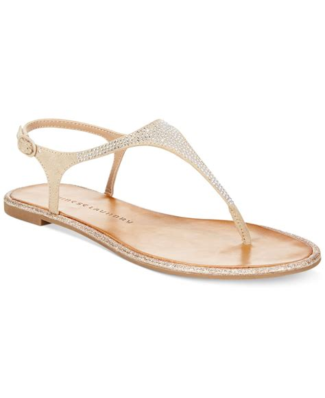 Sandal Wanita Ina Flat Shoes Beige lyst laundry glam rock flat sandals in