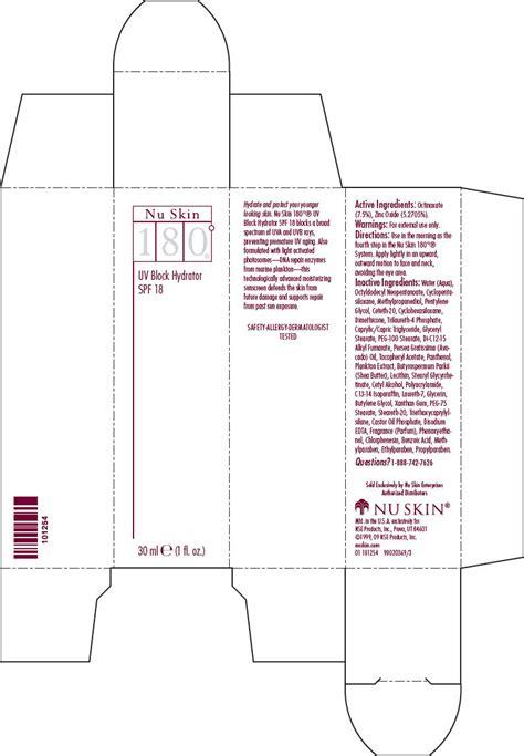 Uv Block 180 nu skin 180 degree uv block hydrator spf 18 nse products