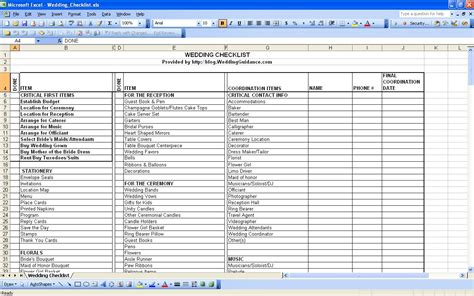 wedding spreadsheet template spreadsheet templates for
