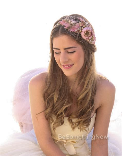 Vintage Bohemian Wedding Hair Accessories by Vintage Flower Wedding Headband With Birdcage Veil