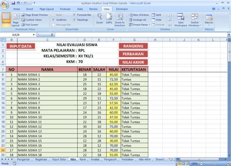 format analisis butir soal dengan excel analisis soal pilihan ganda dengan microsoft excel