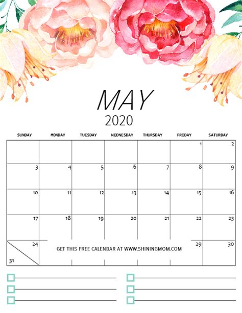 printable calendar   pretty florals  notes