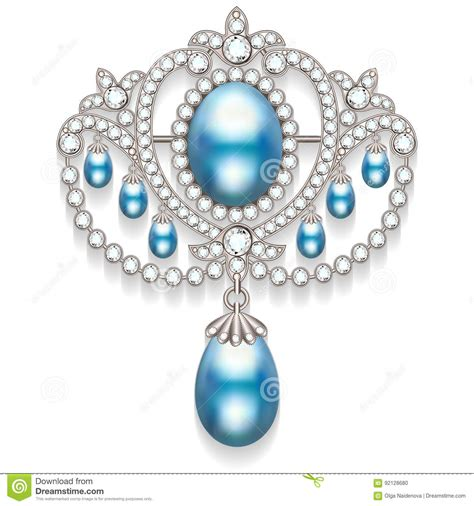 fashion jewelry images illustrations vectors fashion brooch with pearls and precious stones filigree v stock