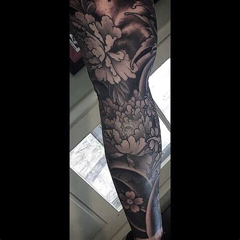 black and grey water tattoo black and grey peonies and water tattoo by dana helmuth