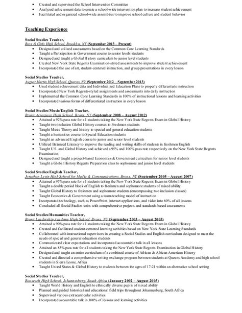 Sle Resume Experience Section Education Experience Resume 28 Images Elementary School Resume Exle Teaching Sle Special