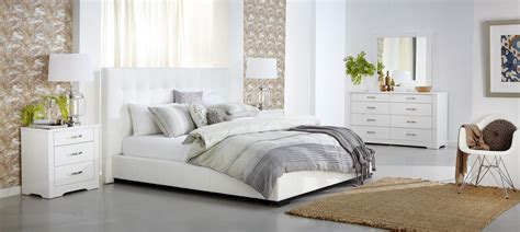 White Leather King Bedroom Set by Bedroom Furniture The Look Is Contemporary