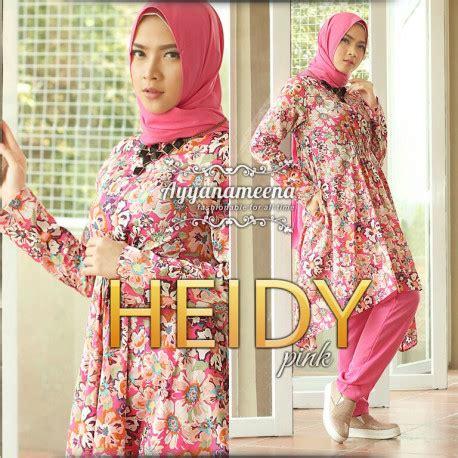 Tunik Heidy heidy pink baju muslim gamis modern