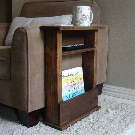 arm table l sofa chair arm rest table stand with shelf and storage pocket