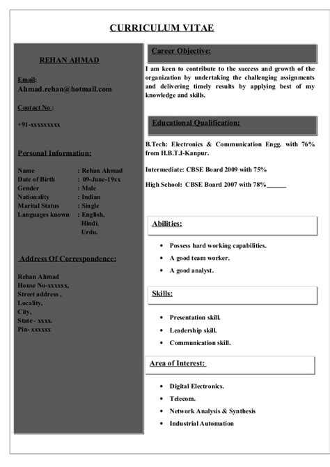 curriculum vitae format for engineering students pdf fresher resume format doc dfathchate1985