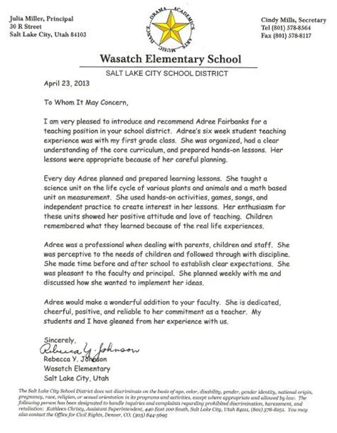 Recommendation Letter For A Grade Student Letters Of Recommendation Adree Fairbanks Teaching Portfolio